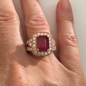 Solid 14K Rose Gold Natural Ruby & Diamond Ring